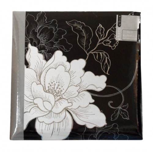 "Black/Silver flowery Album 4x6"" holds 200 photos"
